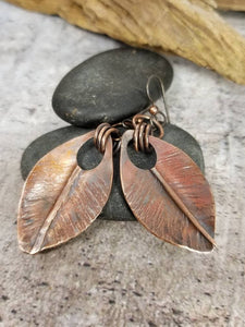 Copper Leaf Earrings, Handmade Jewelry, Gift for Nature Lover, Autumn Earrings