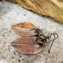 Load image into Gallery viewer, Copper Leaf Earrings, Handmade Jewelry, Gift for Nature Lover, Autumn Earrings