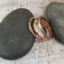 Load image into Gallery viewer, Thick Stack Rings, Set of 3. Heavy Textured Mixed Metals Stackable Ring Set