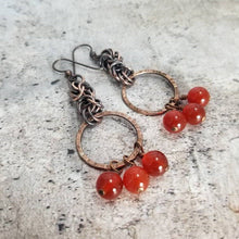 Load image into Gallery viewer, Byzantine Chainmaille Drop Earrings. Carnelian Crystal Earrings Handmade Chain Maille in Rustic Solid Antique Copper. Lightweight Earrings.