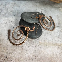 Load image into Gallery viewer, Twisted Copper Spiral Symbol Dangle Earrings