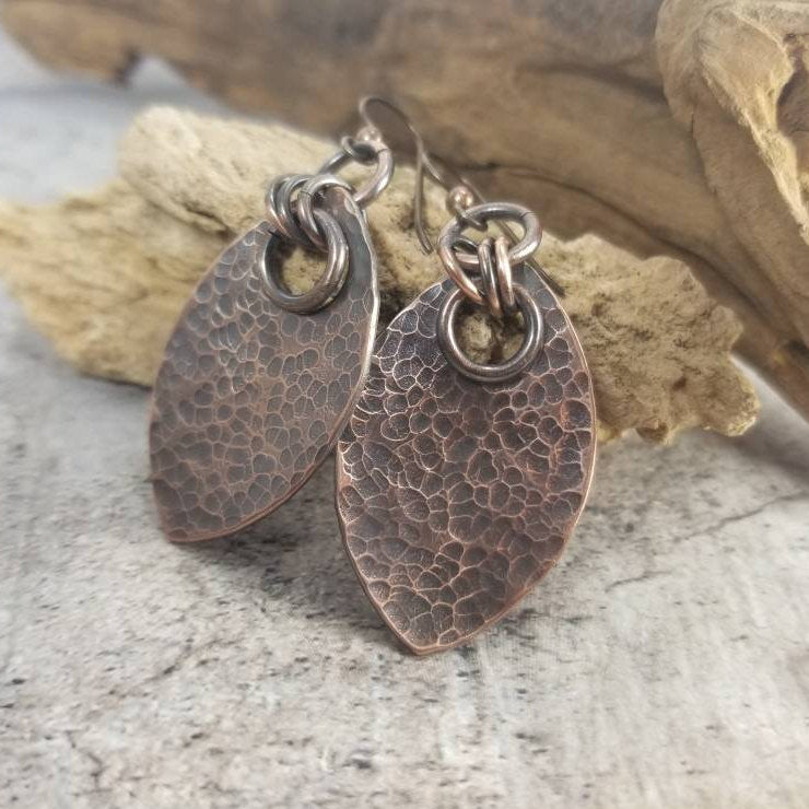 Dragon Scale Earrings, Hammered Copper Solid Metal Scales, Dangle Earrings, Medieval Jewelry, SCA LARP, Rustic Viking Earrings. Ren Faire.