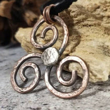 Load image into Gallery viewer, Triskele Necklace. Handmade Mixed Metal Pendant. Ancient Triple Spiral Symbol