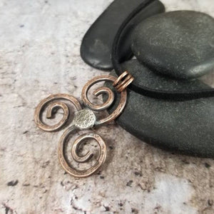 Triskele Necklace. Handmade Mixed Metal Pendant. Ancient Triple Spiral Symbol