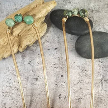 Load image into Gallery viewer, Hair Pin, Metal and Stone. Hammered Bronze with African Turquoise Bun Holder Pin