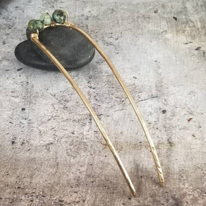Hair Pin, Metal and Stone. Hammered Bronze with African Turquoise Bun Holder Pin