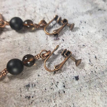 Load image into Gallery viewer, Hammered Copper Earrings, Diffuser Earrings,Black Onyx Lava Stone and Smoky Quartz Crystal