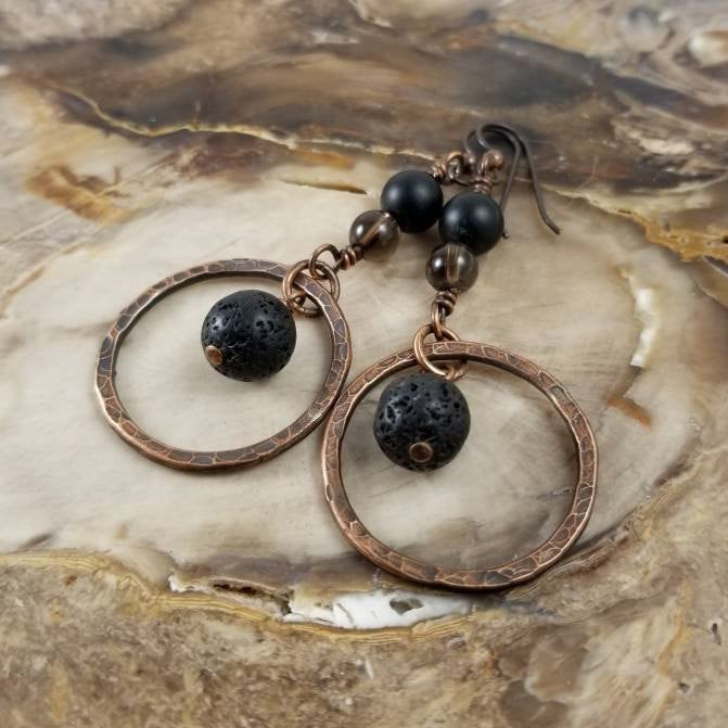 Hammered Copper Earrings, Diffuser Earrings,Black Onyx Lava Stone and Smoky Quartz Crystal