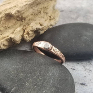 Mixed Metals Thumb Ring.  Hammered Copper with Sterling Silver. Stackable Ring,