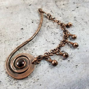 Copper Shawl Pin Stick with Chain, Knitting gift. Garnet  Brooch January Birthstone .