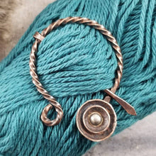 Load image into Gallery viewer, Penannular Pin,  Mixed Metal Cloak Pin, Hand Forged Viking Brooch, Knitter Gift