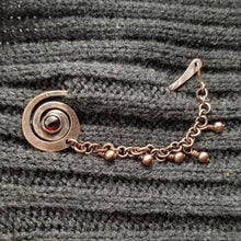 Load image into Gallery viewer, Copper Shawl Pin Stick with Chain, Knitting gift. Garnet  Brooch January Birthstone .