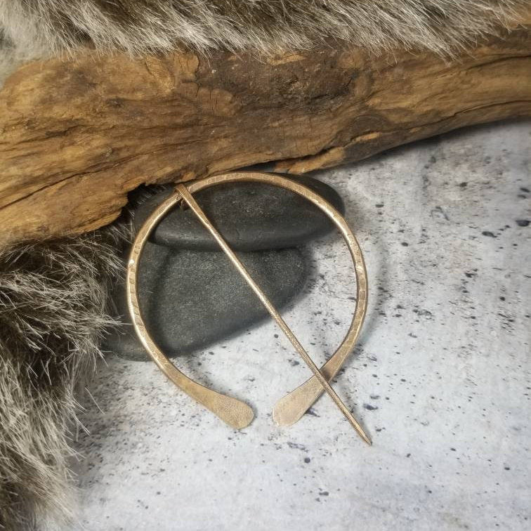 Bronze Cloak Pin, Penannular Brooch | Hand Forged Viking Pin.