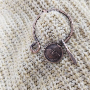 Canadian Penny Cloak Clasp, Metal Shawl Pin, Handmade Rustic Copper Viking Penannular Pin
