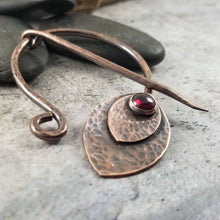 Load image into Gallery viewer, Garnet Cloak Pin Metal Shawl Clasp, Handmade  Viking Penannular Brooch,  Red Garnet Gemstone.