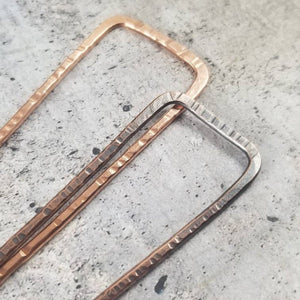 Square Hair Fork for Bun, Topknot, French Twist, Chignon in Bronze Copper or Brass,