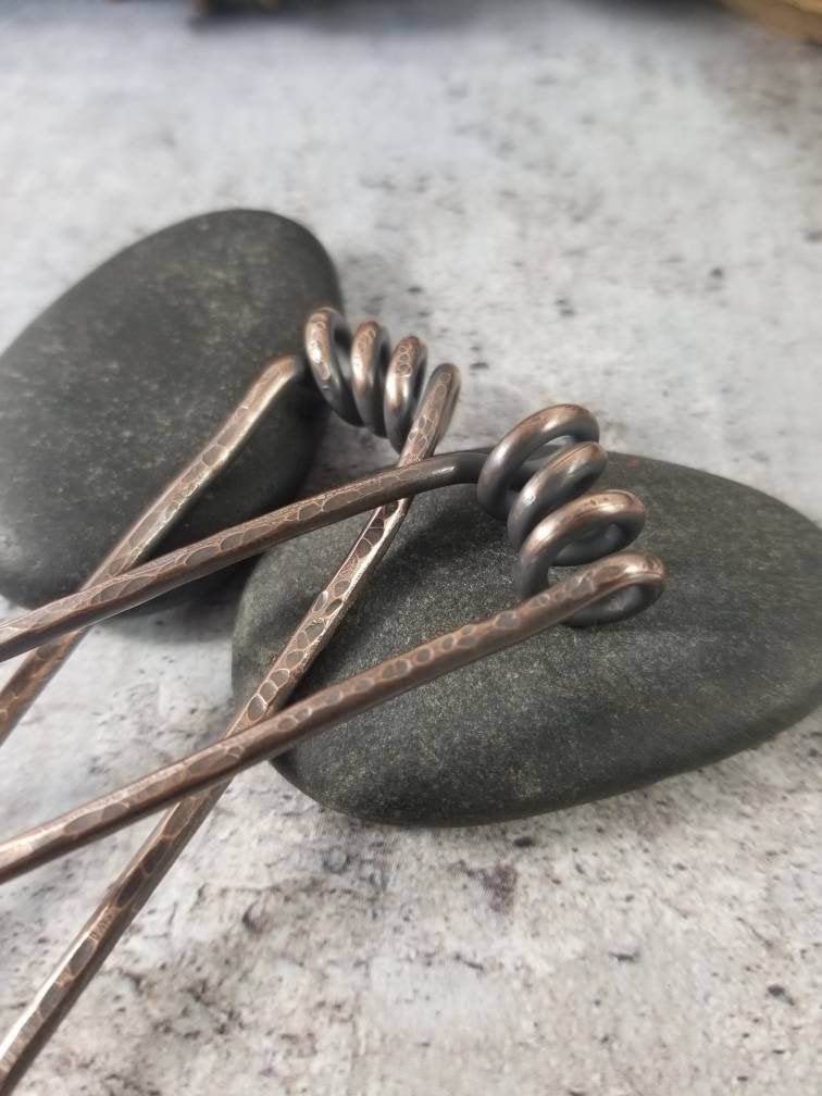 Metal French Hair Pins, Set of 2 Copper Springs Bun Pins, Messy Bun Hair Fork