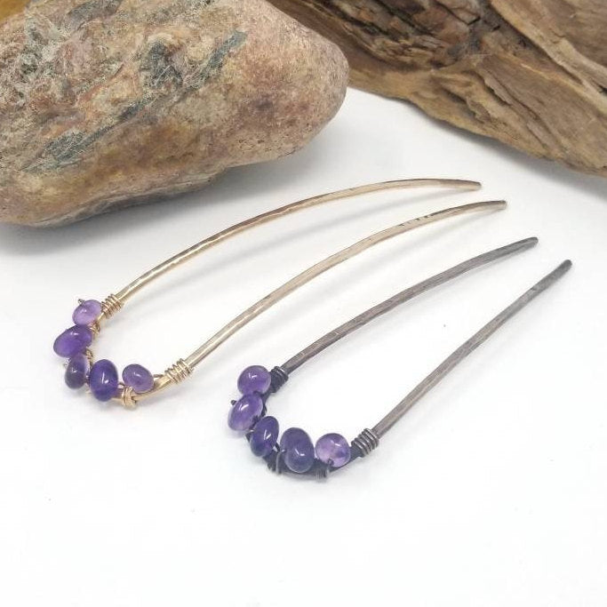Amethyst Crystal Hair Pin, Hammered Gold Metal Hair Fork Bun Holder. February Birthstone Hair Accessory. Womens Birthday Gift. Mom Gift.