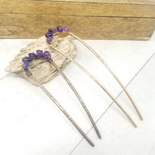 Load image into Gallery viewer, Amethyst Crystal Hair Pin, Hammered Gold Metal Hair Fork Bun Holder. February Birthstone Hair Accessory. Womens Birthday Gift. Mom Gift.