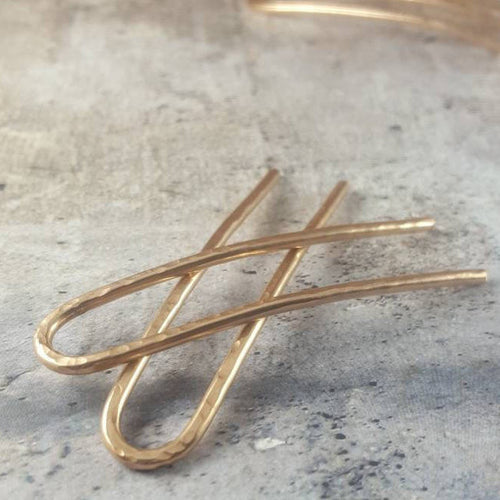 Set of 2 Hammered Metal French Hair Pins - Most Popular!