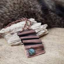 Load image into Gallery viewer, Labradorite Necklace, Antiqued Foldform Copper Pendant on Chain, Blue Labradorite Gem