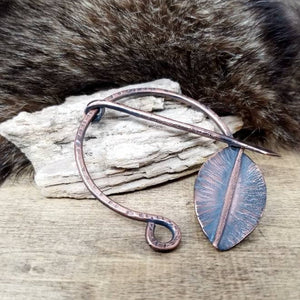 Penannular Brooch, Hammered Copper Cloak Pin, Fantasy Gift Leaf Shawl Pin Clasp.