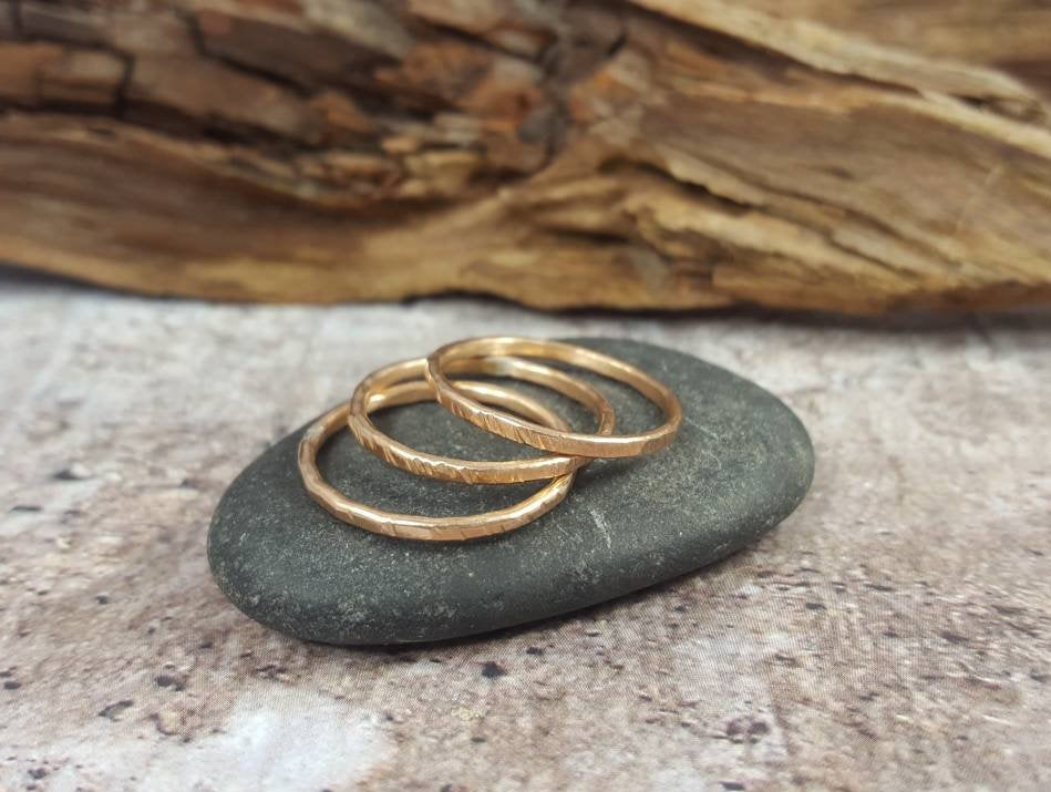 Set of 3 Bronze Stacking Rings, Thin Hammered Minimalist Rings