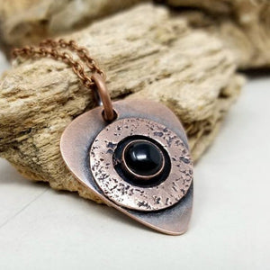 Rustic Copper Black Onyx Mens Necklace. Artisan Made Guitar Pick Pendant with Onyx Stone