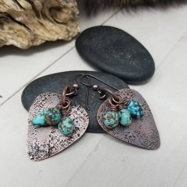 Copper Turquoise Earrings. Rustic Copper Dangle Earrings,