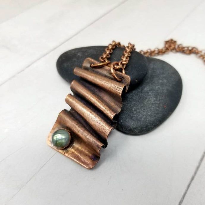 Labradorite Necklace, Antiqued Foldform Copper Pendant on Chain, Blue Labradorite Gem
