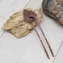 Load image into Gallery viewer, Red Garnet Mini Hair Fork, Copper Shawl Slide,  January Birthstone