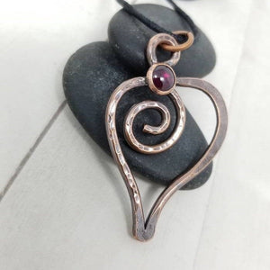 Rustic Copper Heart Pendant, Red Garnet Crystal Heart Necklace,