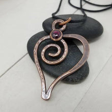 Load image into Gallery viewer, Rustic Copper Heart Pendant, Red Garnet Crystal Heart Necklace,
