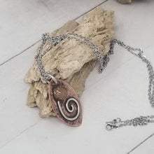 Load image into Gallery viewer, Sunstone Flower Pendant, Mixed Metal Crystal Necklace,
