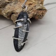 Load image into Gallery viewer, Mens Fossil Necklace, Prehistoric Orthoceras Nautiloid Fossil, Mixed Metal Pendant