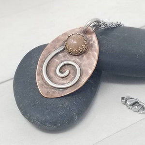 Sunstone Flower Pendant, Mixed Metal Crystal Necklace,