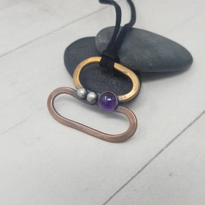 Mixed Metal Pendant,  Amethyst Necklace, Gemstone Gift for Girlfriend,  February Birthday Gift for Mom.