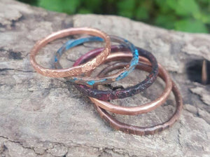 Copper Stackable Rings, Thin Stacking Rings Set of 5 Patina