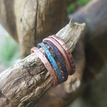 Load image into Gallery viewer, Copper Stackable Rings, Thin Stacking Rings Set of 5 Patina