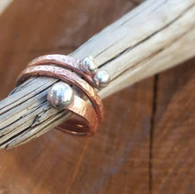 Load image into Gallery viewer, Copper and Silver Ring, Mixed Metals Ring. Bimetal Ring. Wraparound Ring. Gift for Mom, Artisan Rustic Ring Silver Drops. Made any Size