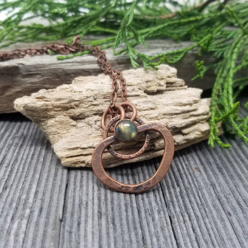 Labradorite Crystal Necklace on Antiqued Copper. One of a kind.