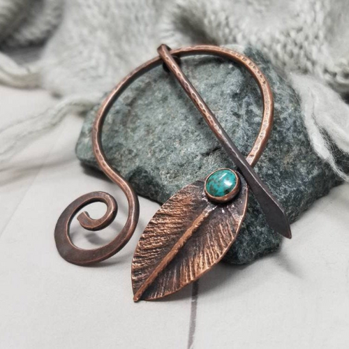 Turquoise Gemstone Copper Penannular Pin Cloak Brooch, Foldformed Leaf Design
