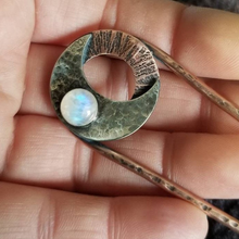 Load image into Gallery viewer, Moonstone Moon Hair Jewelry, Rainbow Moonstone and Silver Crescent Moon on Hammered Copper Hair Fork