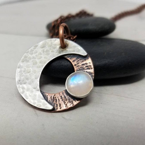 Moonstone Necklace. Mixed Metals Crescent Moon Stone Amulet, Witchy Jewelry