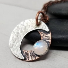 Load image into Gallery viewer, Moonstone Necklace. Mixed Metals Crescent Moon Stone Amulet, Witchy Jewelry