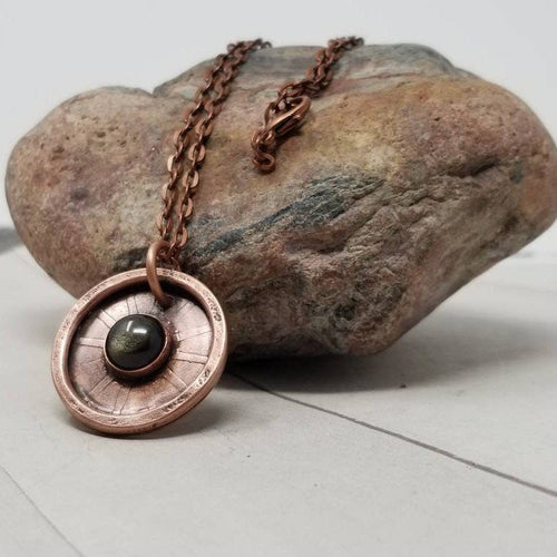 Mens Golden Sheen Obsidian Necklace. Copper Stone Amulet
