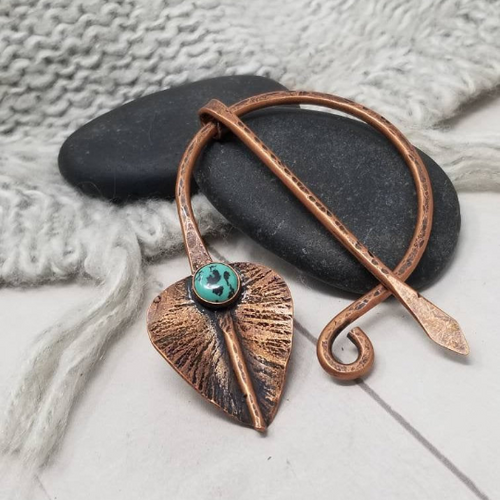 Hammered Copper Leaf  Penannular Pin with Turquoise Gemstone