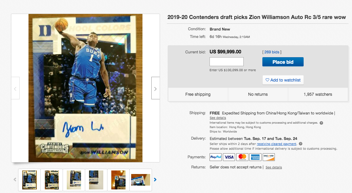 2019-20 Contenders draft picks Zion Williamson Auto Rc 3/5 rare wow ebay