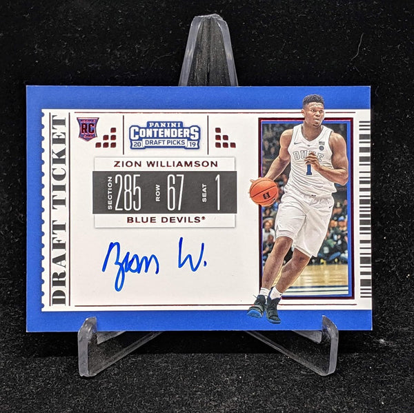 draft pick contenders zion williamson rookie auto red short print panini