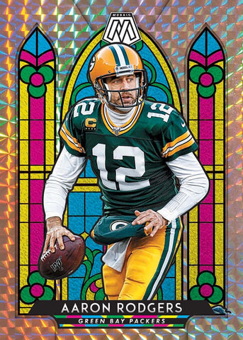 panini mosaic stained glass football aaron rodgers